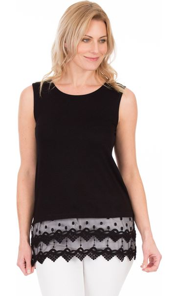 Lace Trim Sleeveless Jersey Top Black - Gallery Image 1