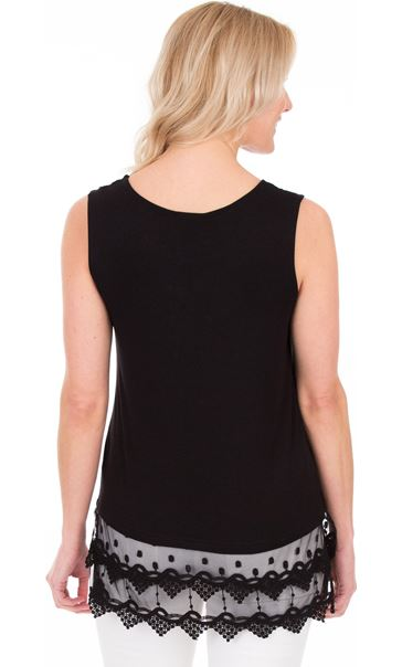 Lace Trim Sleeveless Jersey Top Black - Gallery Image 2