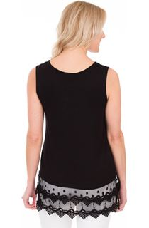 Lace Trim Sleeveless Top - Black