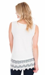 Lace Trim Sleeveless Jersey Top Ivory - Gallery Image 2