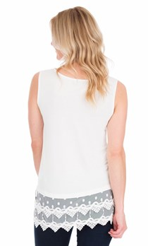 Lace Trim Sleeveless Top - Ivory