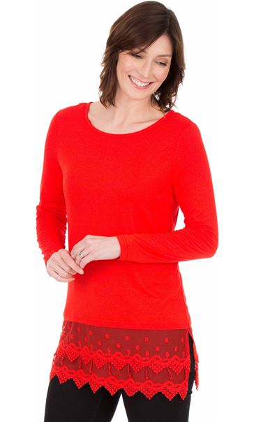 Longline Long Sleeve Lace Trim Jersey Top - Red