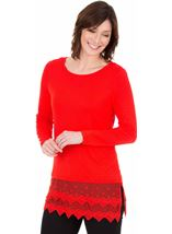 Longline Long Sleeve Lace Trim Jersey Top
