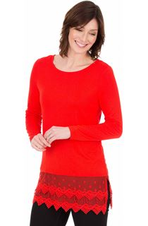 Longline Long Sleeve Lace Trim Jersey Top - Ruby