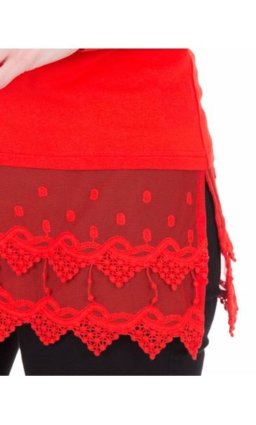 Longline Long Sleeve Lace Trim Jersey Top Red - Gallery Image 3