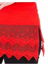 Longline Long Sleeve Lace Trim Jersey Top Ruby - Gallery Image 3