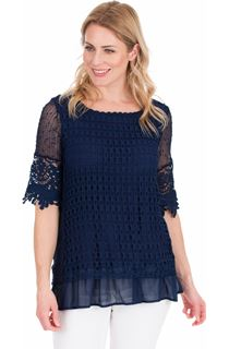 Crochet Layered Top - Navy