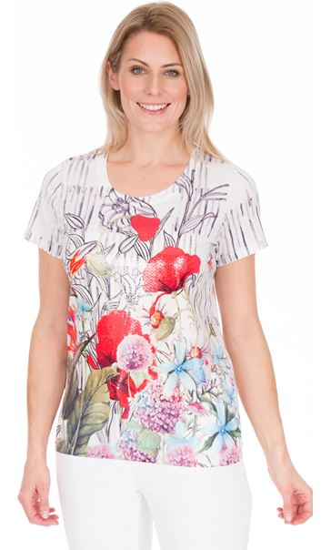 Sequin Panel Print Short Sleeve Top White/Ruby