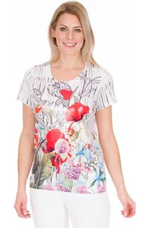 Sequin Panel Print Short Sleeve Top