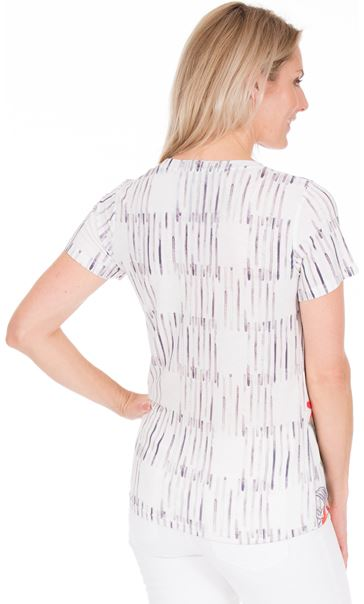 Sequin Panel Print Short Sleeve Top White/Ruby - Gallery Image 2
