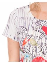 Sequin Panel Print Short Sleeve Top White/Ruby - Gallery Image 3