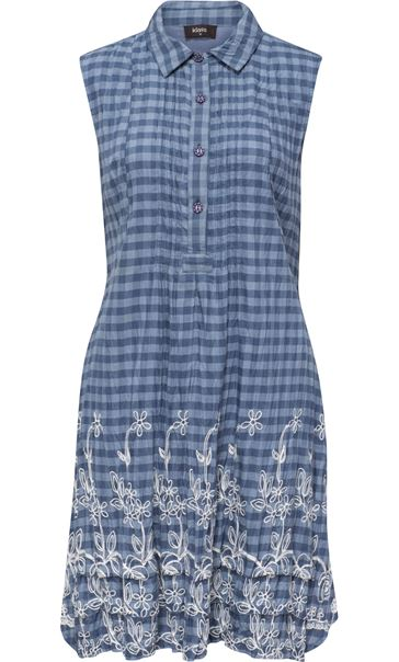 Embroidered Sleeveless Stripe Tunic Chambray Blue/White