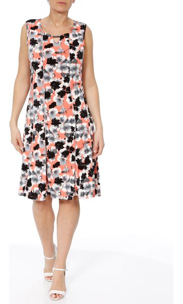 Anna Rose Floral Panelled Jersey Midi Dress Coral/Grey - Gallery Image 2