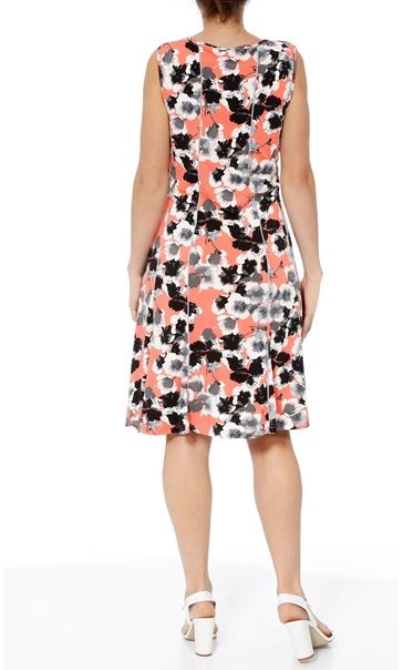 Anna Rose Floral Panelled Jersey Midi Dress Coral/Grey - Gallery Image 3