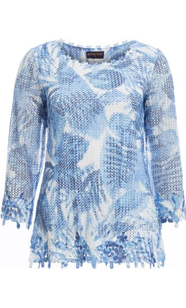Anna Rose Print And Sequin Crochet Top White/Blue