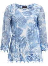 Anna Rose Print And Sequin Crochet Top White/Blue - Gallery Image 1