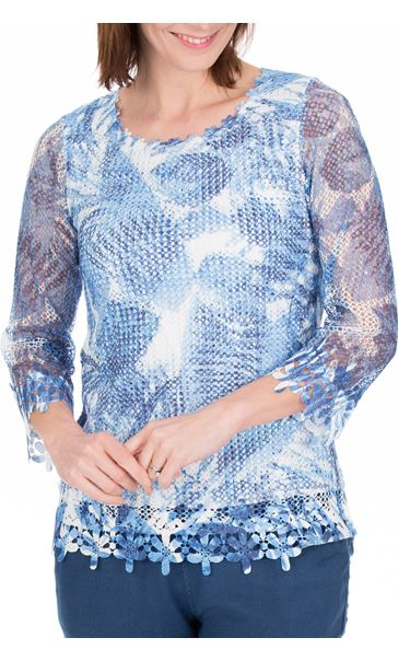 Anna Rose Print And Sequin Crochet Top