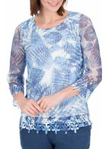 Anna Rose Print And Sequin Crochet Top White/Blue - Gallery Image 2
