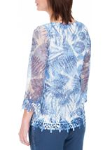 Anna Rose Print And Sequin Crochet Top White/Blue - Gallery Image 3