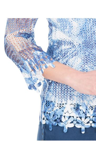 Anna Rose Print And Sequin Crochet Top White/Blue - Gallery Image 4