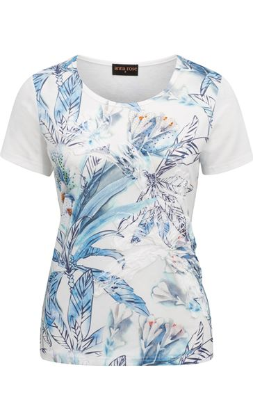 Anna Rose Applique Short Sleeve Top White/Blue