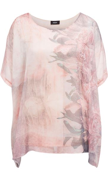 Embellished Georgette Print Top Peach/Mouse