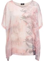 Embellished Georgette Print Top Peach/Mouse - Gallery Image 1