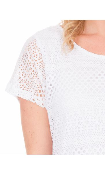 Textured Short Sleeve Top White - Gallery Image 3