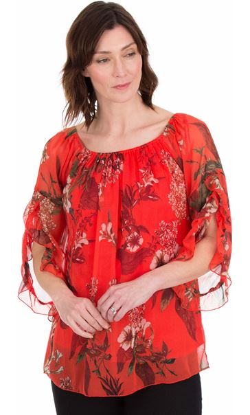 Printed Chiffon Frill Sleeve Top Ruby