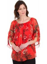 Printed Chiffon Frill Sleeve Top Ruby - Gallery Image 1