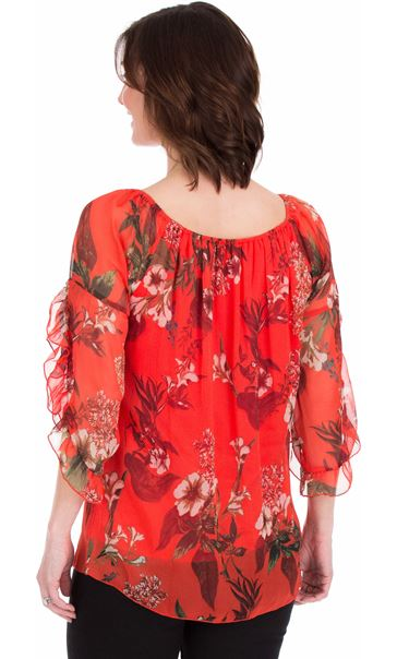 Printed Chiffon Frill Sleeve Top Ruby - Gallery Image 2