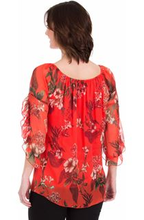 Printed Chiffon Frill Sleeve Top