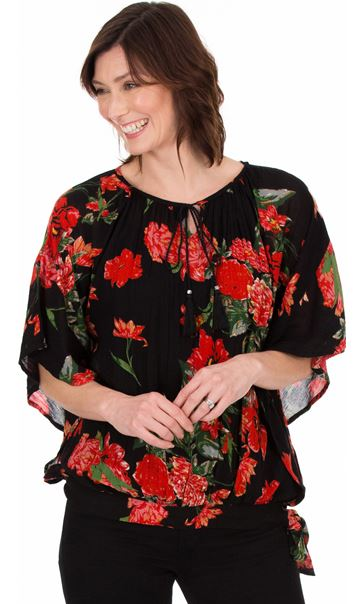 Floral Crinkle Crepe Top Black/Ruby