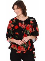 Floral Crinkle Crepe Top Black/Ruby - Gallery Image 1