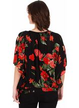Floral Crinkle Crepe Top Black/Ruby - Gallery Image 2