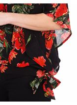 Floral Crinkle Crepe Top Black/Ruby - Gallery Image 3