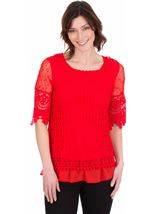 Crochet Layered Top Red - Gallery Image 1