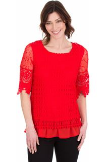 Crochet Layered Top - Red