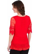 Crochet Layered Top Red - Gallery Image 2