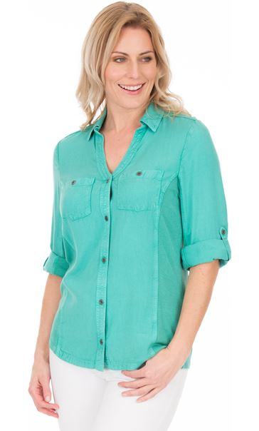 Fitted Washed Turn Sleeve Shirt Jade