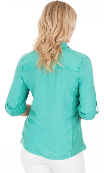 Fitted Washed Turn Sleeve Shirt Jade - Gallery Image 2