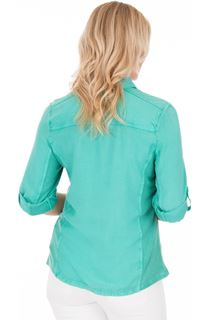 Fitted Turn Sleeve Washed Shirt - Jade