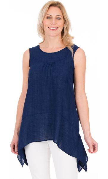 Dipped Hem Sleeveless Top Navy