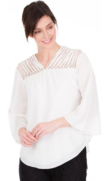 Chiffon Bell Sleeve Top Ivory