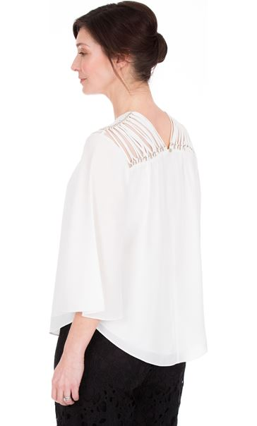 Chiffon Bell Sleeve Top Ivory - Gallery Image 2