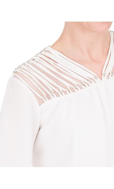 Chiffon Bell Sleeve Top Ivory - Gallery Image 3