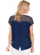 Lightweight Knit And Fabric Top Navy - Gallery Image 2