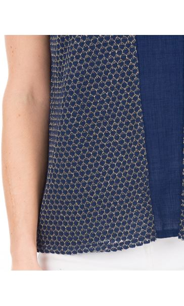 Lightweight Knit And Fabric Top Navy - Gallery Image 3
