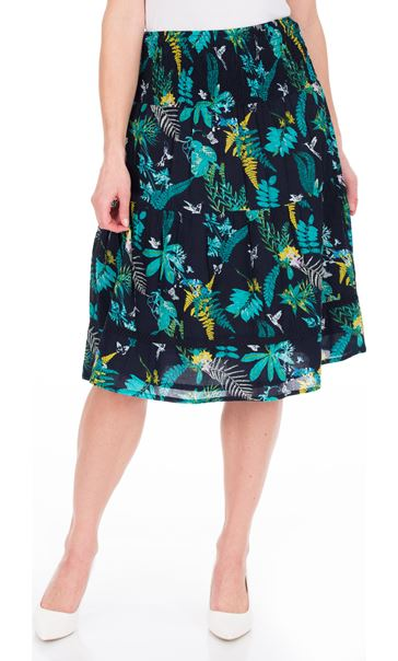 Garden Printed Smocked Cotton Midi Skirt Navy/Teal/Jade