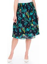 Garden Printed Smocked Cotton Midi Skirt Navy/Teal/Jade - Gallery Image 1